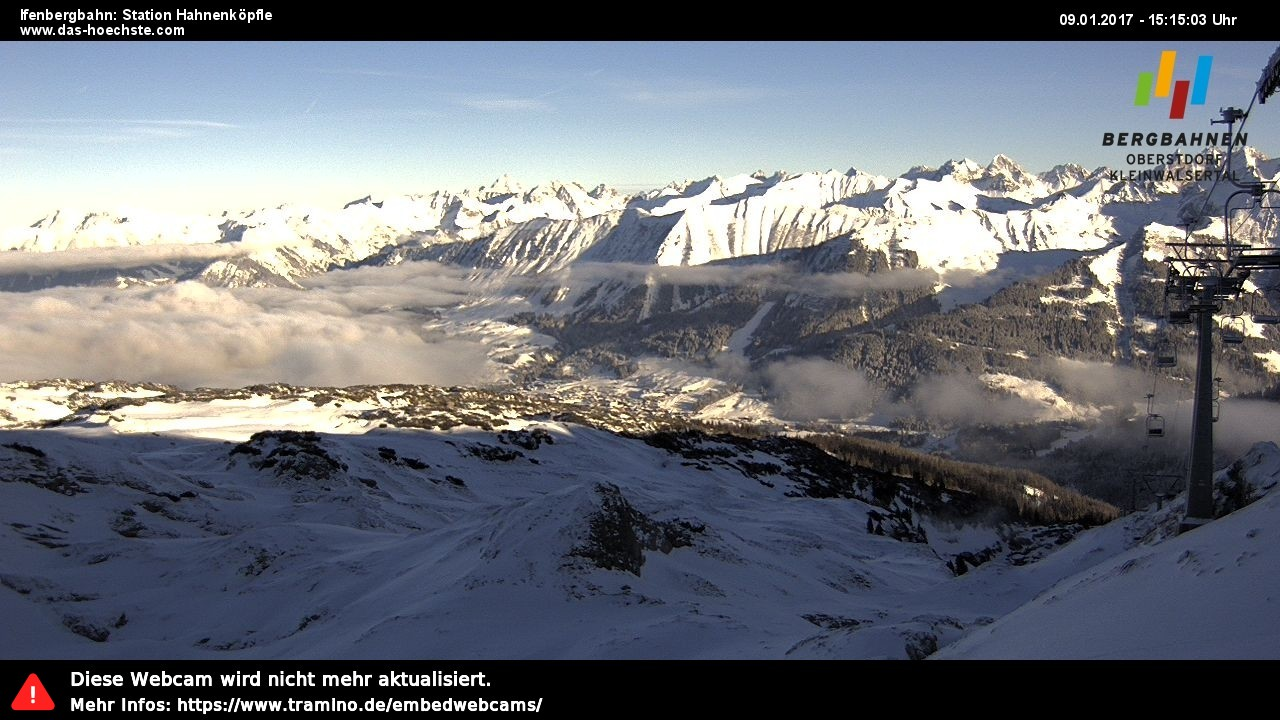 Eine atemberaubende Aussicht über das Ski- und Wandergebiet Ifen und die Alpen.