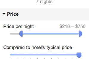 Hotelfinder Suchoptionen