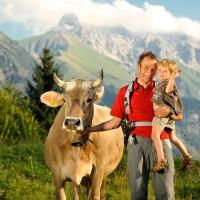 Familie und Kühe Hochleite
