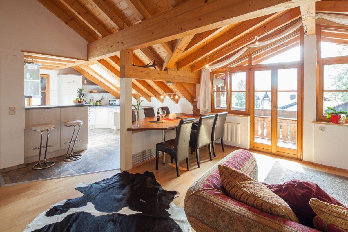offener wohn essbereich ferienwohnungen weidach. Black Bedroom Furniture Sets. Home Design Ideas