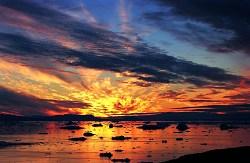 Sonnenuntergang über Treibeis