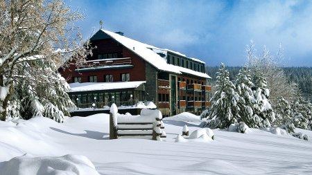 Das Appartementhotel Jens Weissflog im Winterkleid