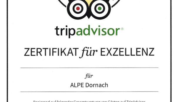 Zertifikat für Exzellenz 2015 Tripadvisor