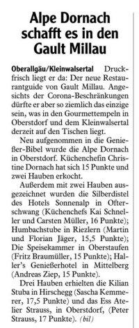 Gault Millau 2021 Allgäuer Zeitung 23.12.2020
