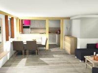 Zeichnung: Wohnzimmer mit Essbereich