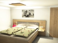 Zeichnung: 2 separate Schlafzimmer mit Doppelbetten