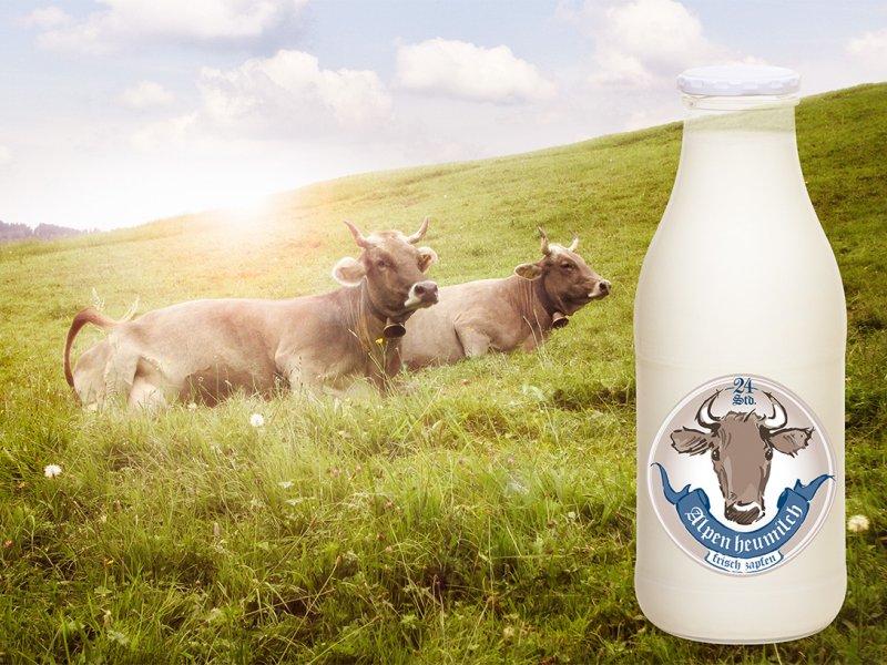 Milchtankstelle Bild mit Flasche