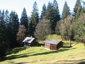 Hütten an der Nebelhornabfahrt