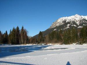 Eislaufen u. Eisstockschiessen auf dem Moorweiher