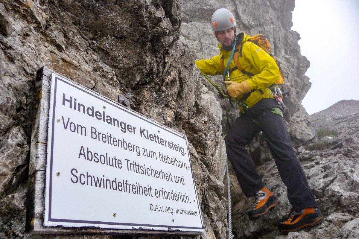 Hindelanger Klettersteig Ungesicherte Stellen : Hindelanger klettersteig gratüberschreitung hoch über oberstdorf