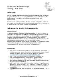 Schutz- und Hygienekonzept Training Audi Arena
