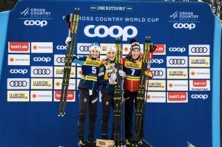 Skiathlon Ladies Siegerehrung