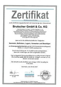 Zertifikat Entsorgungsfachbetrieb 2021