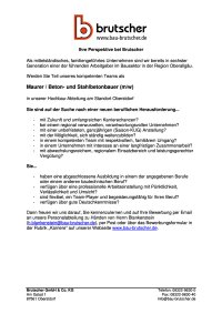 Maurer Beton-und Stahlbetonbauer (m / w)