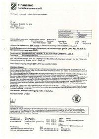 Freistellungsbescheinigung Brutscher - 02.01.2022