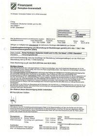 Freistellungsbescheinigung Ferdinand Brutscher - 02.01.2022