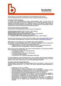 Datenschutzerklärung nach Art 13 DSGVO - Brutscher