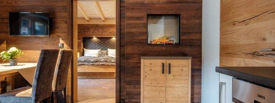Wohn- und Essbereich der Ferienwohnung im Bergchalet Baad