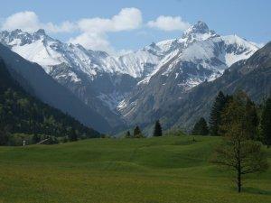 Schneebedeckte Berge - Grüne Wiesen
