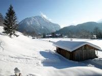 Ausblick vom Ferienhaus Almrausch im Winter