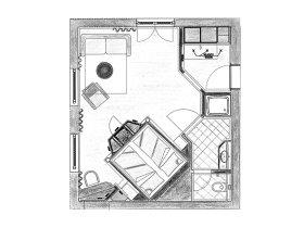 Grundriss Doppelzimmer Biberkopf im Heuwirt Berwanger Hof - 4 Sterne Hotel im Allgäu