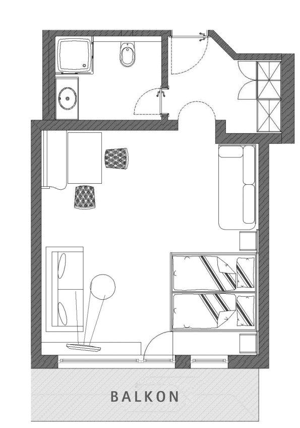 Grundriss Doppelzimmer Grünten im Berwanger Hof - 4 Sterne Hotel im Allgäu