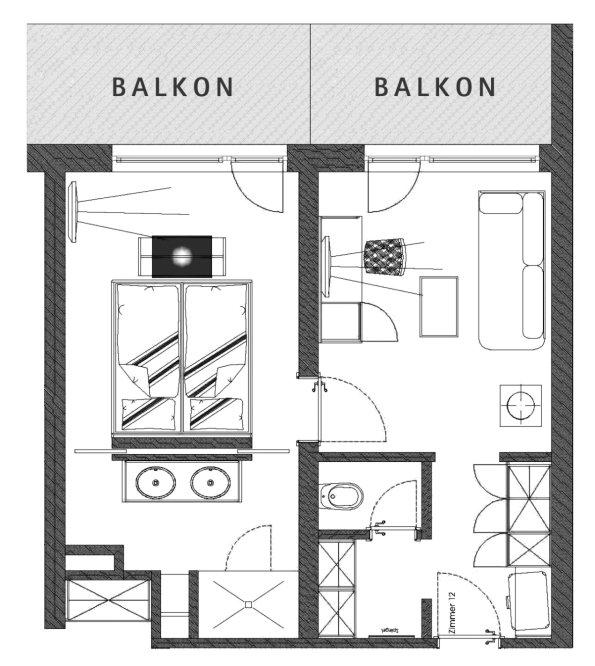 Grundriss Doppelzimmer Haubenegg im Berwanger Hof - 4 Sterne Hote im Allgäu