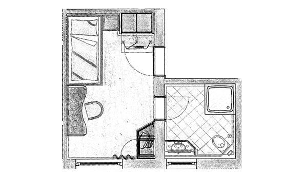 Grundriss Einzelzimmer Herrenberg im Berwanger Hof - 4 Sterne Hotel im Allgäu