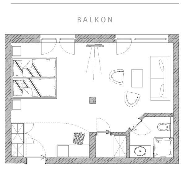 Grundriss Doppelzimmer Nebelhorn im Berwanger Hof - 4 Sterne Hotel im Allgäu