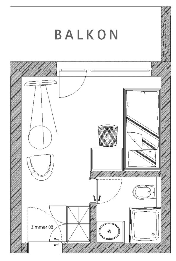 Grundriss Einzelzimmer Nagelfluh im Berwanger Hof - 4 Sterne Hotel im Allgäu