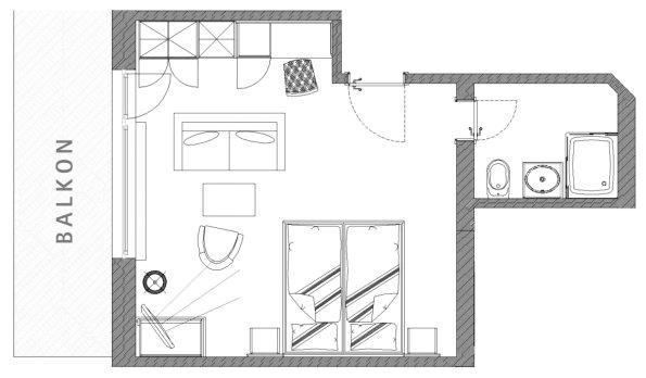 Grundriss Doppelzimmer Rubihorn im Berwanger Hof - 4 Sterne Hotel im Allgäu