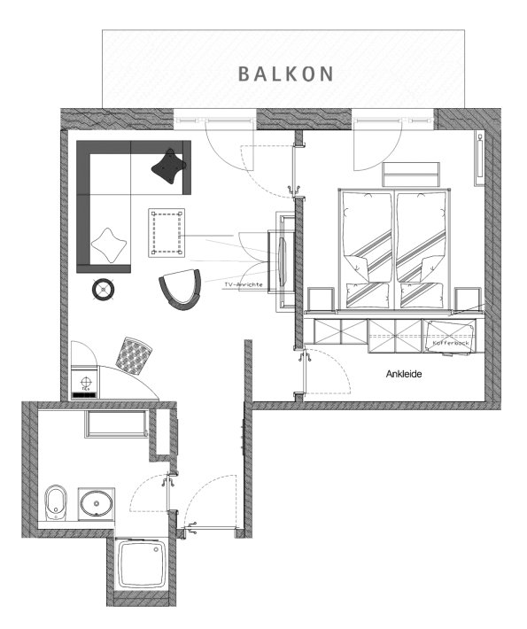Grundriss Doppelzimmer Sonnenblick im Berwanger Hof - 4 Sterne Hotel im Allgäu