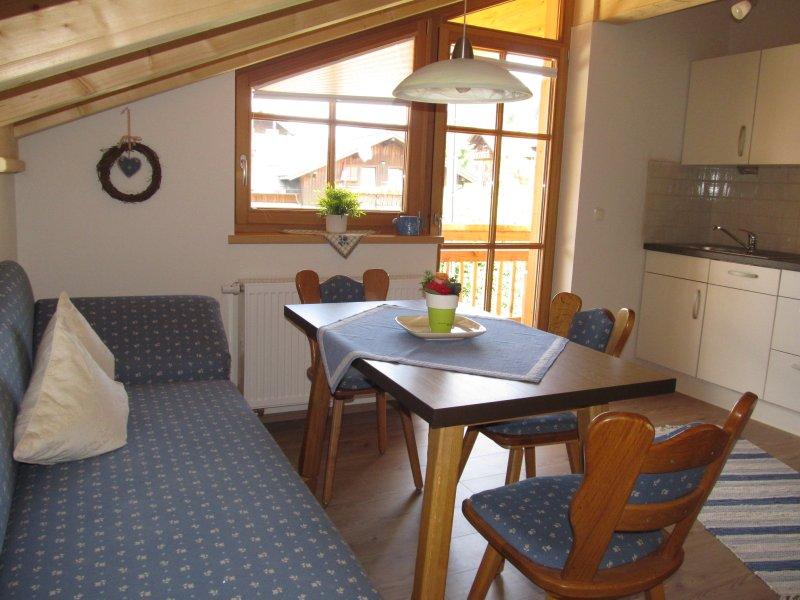 heller Wohnbereich mit Einbauküche