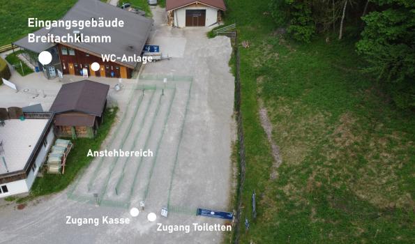 Übersicht Anstehbereich Tiefenbach