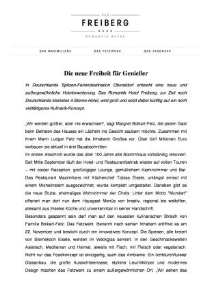 Pressetext - Die neue Freiheit fuer Geniesser