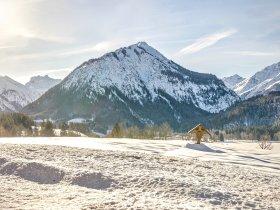 Blick in die verschneiten Allgäuer Alpen