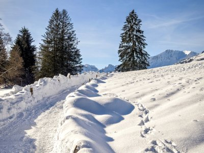 Winterwandern in Oberstdorf nur 5 Minuten vom Hotel entfernt