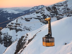 die Nebelhornbahn im Abendlicht