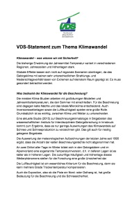 VDS Statement zum Thema Klimawandel