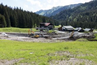 Baustelle der Olympiabahn Talstation