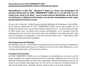 Pressemitteilung Stihl Timbersports