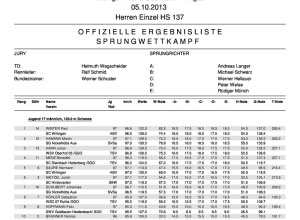 Ergebnisliste DP HS 137 05.10.2013