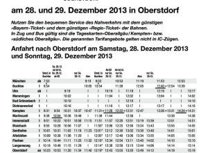 Sonderfahrplan Bahn Vierschanzentournee