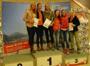 Das Podium der Damen bei der Deutschen Meisterschaft Langlauf