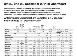 Sonderfahrplan Bahn zur Vierschanzentournee 2014