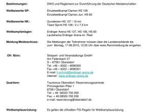 Ausschreibung Deutsche Meisterschaft Nordische Kombination und Damen 2015