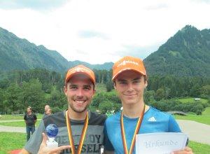 Der Deutsche Meister Johannes Rydzek und Vinzenz Geiger (SCO, 3. Rang DM Team Sprint)