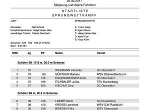 Start-/Ergebnisliste Bayerischer Schülercup Skisprung/Alpine Fahrformen 24. - 26.02.2017