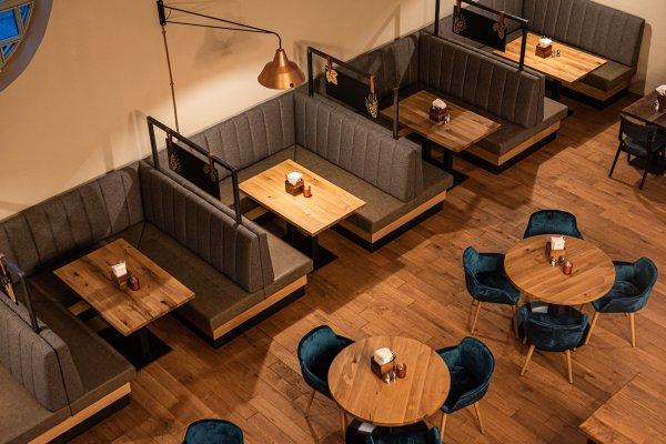 Fasshalle Kempten - Blick von der Empore ins Restaurant