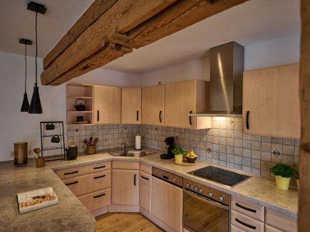Die große offene Küche in der Wohnung LindenBlick
